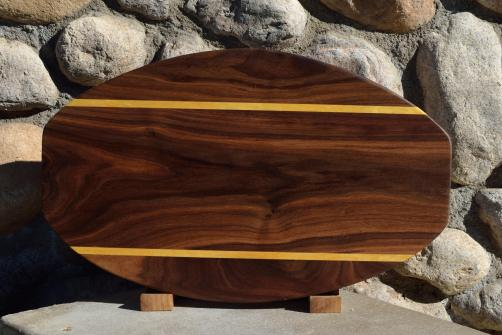 "Surfboard # 15 - 34. Black Walnut & Yellowheart. 12"" x 19"" x 1-1/4""."