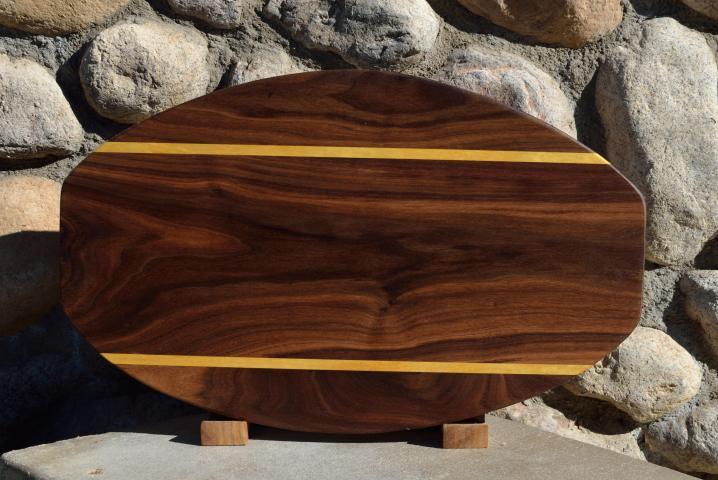 "Surfboard # 15 - 34. Black Walnut & Yellowheart. 12"" x 19"" x 1-1/4""."