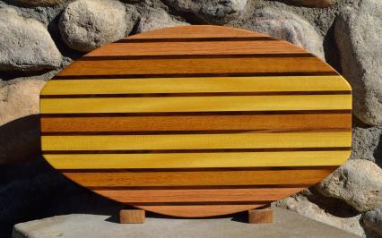 """Surfbord # 15 - 38. Red Oak, Black Walnut, Teak & Yellowheart. 12"""" x 19"""" x 1-1/4""""."""