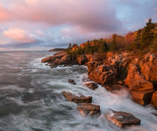 If you want to be the first person in the U.S. to see the sunrise, you'll have to go to Maine. The morning's first light hits Acadia National Park, revealing rocky coves and dense forests. It's a spectacular scene in the sky and on the land. Photo by Rebecca Wilks. Posted on Tumblr by the US Department of the Interior, 12/3/15.