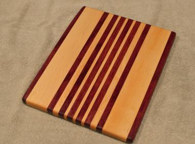 "Cheese Board # 15 - 054. Purpleheart & Hard Maple. 9"" x 11"" x 3/4""."