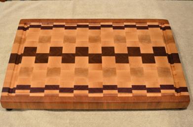 "Cutting Board # 15 - 086. Cherry, Hard Maple, Purpleheart & Jatoba. End Grain with Juice Groove. 15"" x 20"" x 1-1/2""."