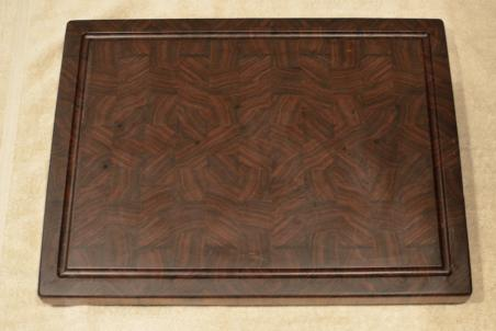 "Cutting Board # 15 - 089. Black Walnut. End Grain with Juice Groove. 16"" x 21"" x 1-1/2""."