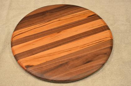 "Lazy Susan # 15 - 041. Black Walnut & Goncalo Alves. 17"" diameter x 3/4""."