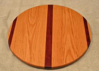 "Lazy Susan # 15 - 049. Purpleheart & Red Oak. 17"" diameter x 3/4""."