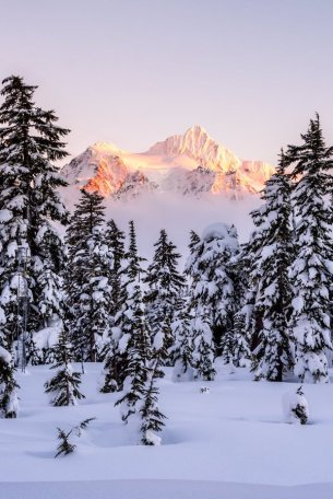 Mt. Shuksan illuminated by the setting sun at Cascades National Park. Photo by Adhika Lie. Tweeted by the US Department of the Interior, 1/21/16.