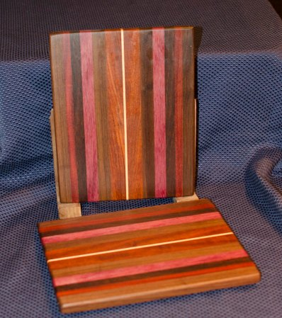 "Cheese Board 16 - 001. Black Walnut, Purpleheart, Jarrah, Jatoba, Cherry & Hard Maple. 9"" x 11"" x 3/4""."