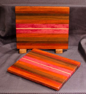 "Cheese Board 16 - 002. Jatoba, Black Walnut, Jarrah, Cherry, Purpleheart & Hard Maple. 9"" x 11"" x 3/4""."