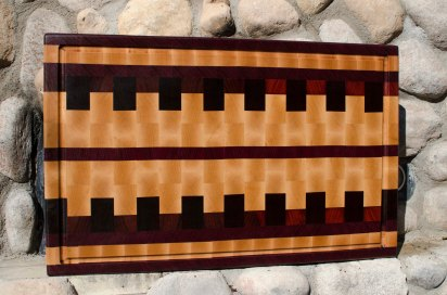 "Cutting Board 15 - 098. Purpleheart, Hard Maple & Jarrah. End Grain with Juice Groove. Monster board at 17"" x 28"" x 1-1/2"". Commissioned piece."