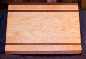 "Cutting Board 16 - Edge 004. Purpleheart & Hard Maple. Edge Grain. 12"" x 16"" x 1-1/4""."
