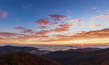 Some of the best views in the country are in Shenandoah National Park in Virginia. The deep valley fills with clouds, and the scene changes as the sun rises. It is an awe-inspiring sight. Enjoy it from hiking trails or convenient pull-offs along Skyline Drive. Photo by N. Lewis, National Park Service. Posted on Tumblr by the US Department of the Interior, 1/15/16.
