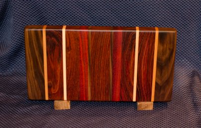 "Small Board 16 - 002. Black Walnut, Cherry, Jatoba, Hard Maple, Bloodwood & Jarrah. 7"" x 12"" x 1-1/4""."
