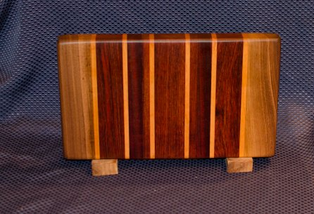 "Small Board 16 - 003. Black Walnut, Cherry, Jatoba, Hard Maple. 7"" x 13"" x 1-1/4""."