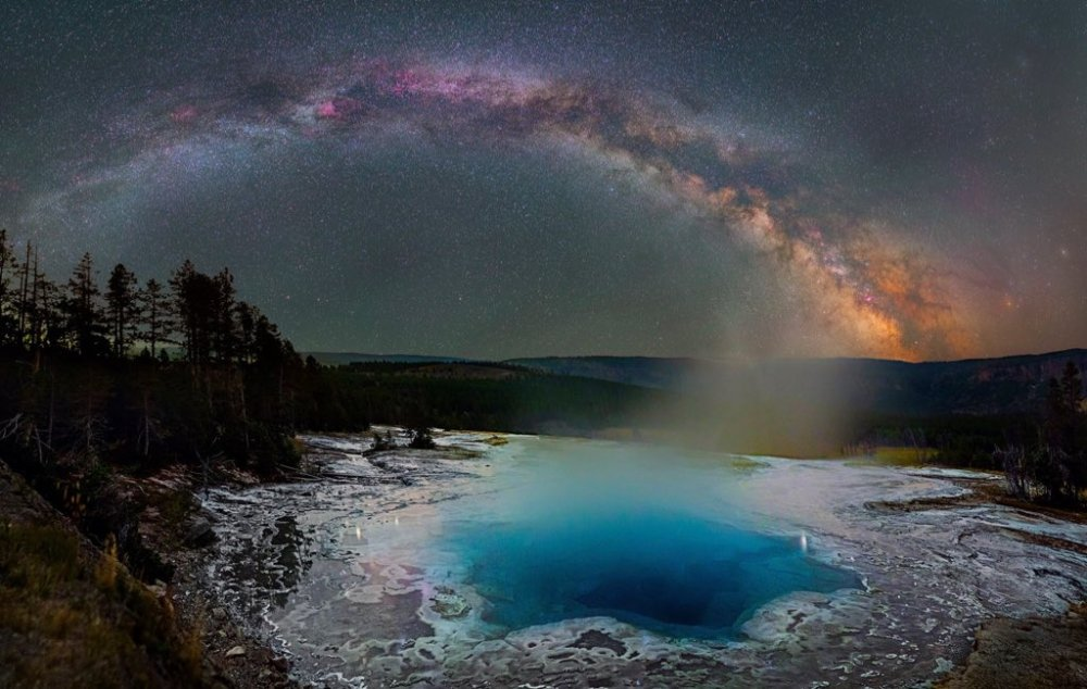 The Milky Way over Yellowstone National Park. Photo by David Lane. Tweeted by the US Department of the Interior, 1/13/16.