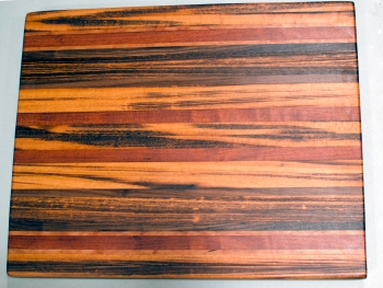 "Cutting Board 16 - Edge 001. Goncalo Alves, Jatoba, Cherry & Black Walnut. Edge grain. 17"" x 21"" x 1-1/2""."
