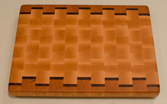 "Cutting Board 16 - End 001. Cherry, Black Walnut & Hard Maple. End Grain. 9-1/2"" x 12-1/2"" x 1""."