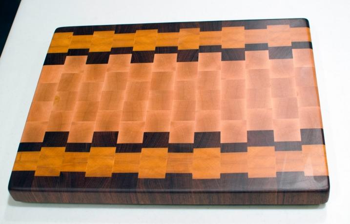 "Cutting Board 16 - End 007. Jatoba, Yellowheart & Hard Maple. End grain. 15"" x 19"" x 1-1/2""."