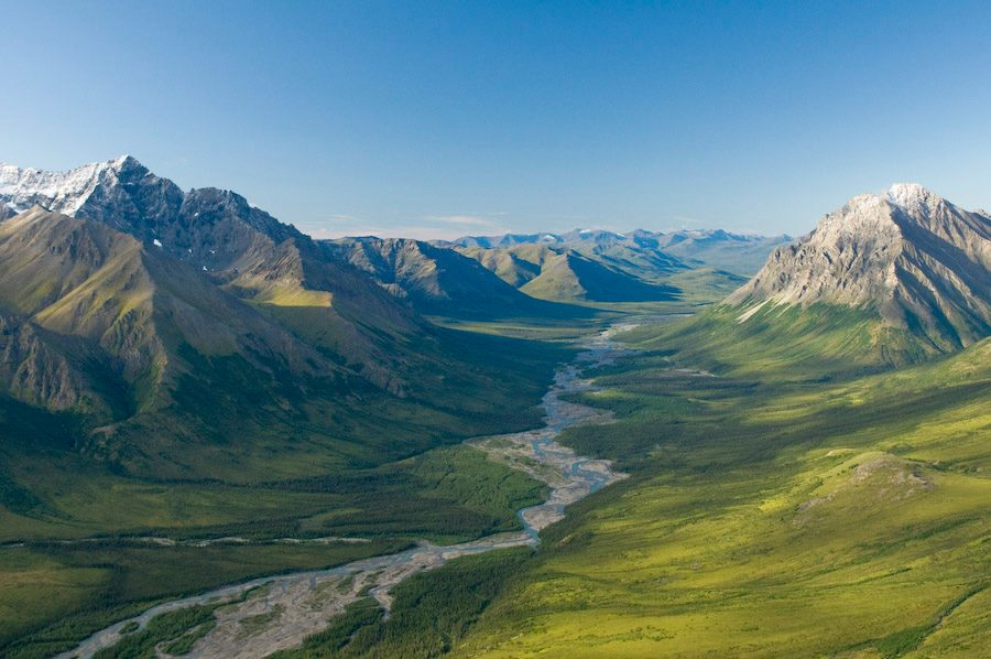 A wild river runs between two jagged mountains at Gates of the Arctic National Park and Preserve, creating a doorway to a wilderness of glacier-carved valleys and aurora-lit night skies. This vast landscape lies north of the Arctic Circle and has no roads or trails – making for adventurous exploration. Photo by Carl Johnson, National Park Service. Posted on Tumblr by the US Department of the Interior, 2/17/16.
