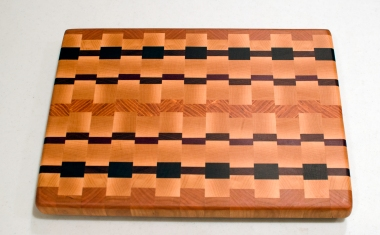 "Cutting Board 16 - End 009. Cherry, Hard Maple, Padauk, Purpleheart & Honey Locust. End grain. 12"" x 16"" x 1-1/4""."