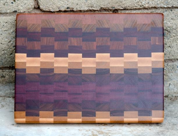 "Cutting Board 16 - End 012. Cherry, Teak, Padauk, Jatoba, Hard Maple, Yellowheart, Canarywood & Purpleheart. End Grain. 11"" x 14"" x 1-1/4""."
