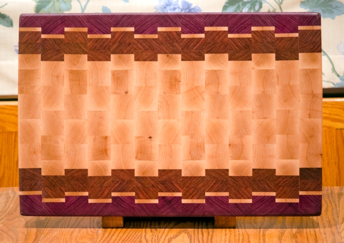 "Cutting Board 16 - End 018. Purpleheart, Hard Maple & Jatoba. End grain. 14"" x 21"" x 1-1/2""."