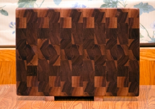 "Cutting Board 16 - End 019. Black Walnut. End grain. 14"" x 20"" x 1-1/2""."
