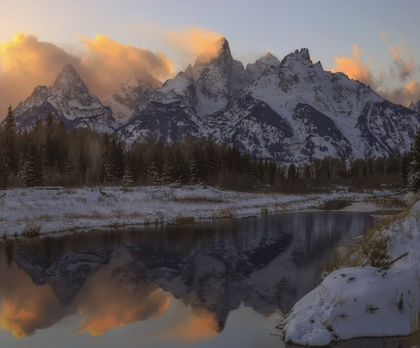 Sunrise over the Teton Mountains in Wyoming's Grand Teton National Park. Photo by Eric Bennett. Tweeted by the US Department of the Interior, 2/20/16.