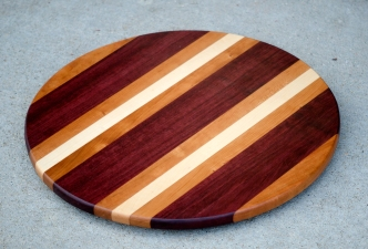 "Lazy Susan 16 - 005. Purpleheart, Cherry & Hard Maple. 17-1/2"" diameter."