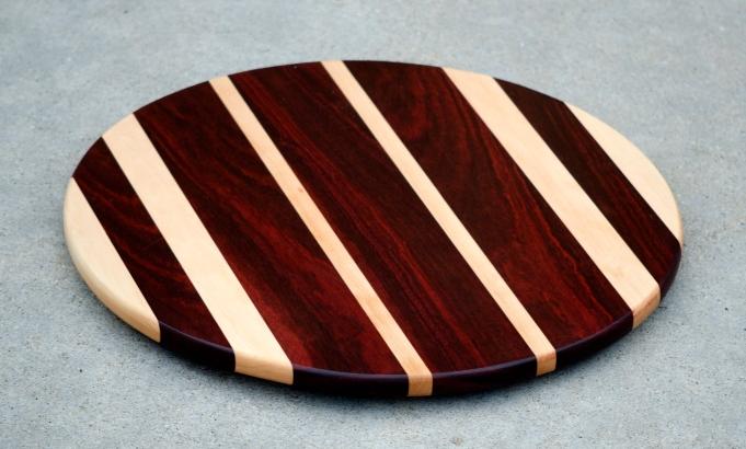"Lazy Susan 16 - 006. Bloodwood & Hard Maple. 17-1/2"" diameter."