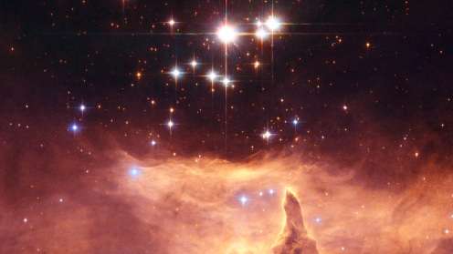 Pismis 24 The small open star cluster Pismis 24 contains extremely massive stars. The brightest object in the picture was once thought to weigh as much as 200 to 300 solar masses. This would have made it by far the most massive known star in the galaxy, and put it considerably above the currently believed upper mass limit of about 150 solar masses for individual stars. However, Hubble images show that it is really two stars, each 100 solar masses, orbiting one another. Photo by the Hubble Telescope.