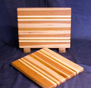 "Cheese Board 16 - 005. Edge Grain. Hickory, Hard Maple & Teak. 8"" x 11"" x 3/4""."