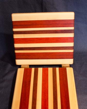 "Cheese Board 16 - 008. Edge Grain. Hard Maple, Jatoba & Padauk. 9"" x 11"" x 3/4""."