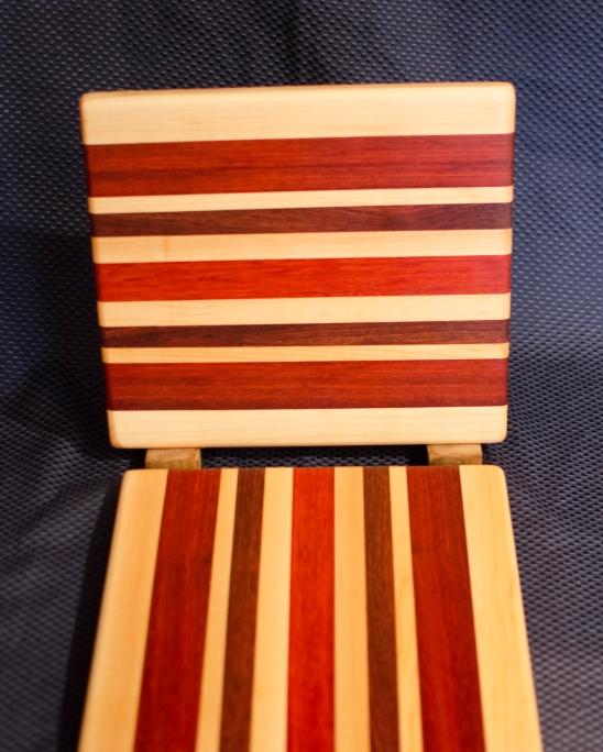 "Cheese Board 16 - 008. Edge Grain. Hard Maple, Jatoba & Padauk. 9"" x 11"" x 3/4""."