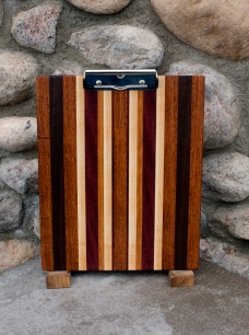 "Clipboard 16 - 007. Jatoba, Black Walnut, Hard Maple & Cherry. Letter size. 1/2"" capacity clip."