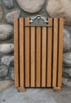 "Clipboard 16 - 011. Black Walnut, White Oak & Cherry. Legal size. 1"" capacity clip."