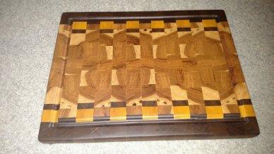 "Cutting Board 16 - End 025. 15"" x 19-1/2"" x 1-1/2"". End grain, Juice groove. Black Walnut, Yellowheart & Hickory."