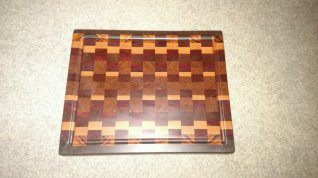 "Cutting Board 16 - End 027. End Grain, Juice Groove. Black Walnut, Goncalo Alves, Jatoba, Bloodwood, Padauk & Hard Maple. 14-1/2"" x 18"" x 1-1/2""."
