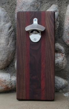 """Magic Bottle Opener 16 - 03. Black Walnut & Bloodwood. Approximately 5"""" x 10"""" x 3/4""""."""
