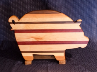 "Pig # 16 - 02. Black Walnut, Cherry, Hard Maple & Purpleheart. 12"" x 19"" x 1""."