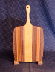 """Sous Chef 16 - 002. Quilted Black Walnut, Canarywood & Hard Maple. 11"""" x 14"""" work area w/6"""" handle."""