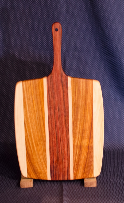"Sous Chef 16 - 003. Hard Maple, Canarywood & Jatoba. 11"" x 14"" work area w/6"" handle."