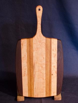 "Sous Chef 16 - 004. Black Walnut, Birds Eye Maple & Canarywood. 11"" x 14"" work area w/6"" handle."