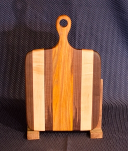 "Sous Chef 16 - 006. Black Walnut, Hard Maple & Canarywood. 9"" x 12"" work surface & 4"" handle."