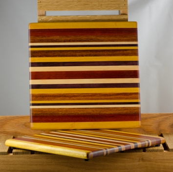 "Cheese Board 16 - 011. Yellowheart, Padauk, Bloodwood, Hard Maple & Black Walnut. 11"" x 11"" x 3/4""."