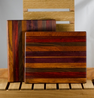"Cheese Board 16 - 012. Jatoba, Padauk, Bloodwood & Black Walnut. 9"" x 11"" x 3/4""."