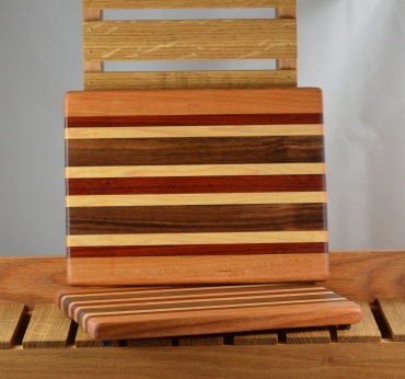 "Cheese Board 16 - 014. Cherry, Padauk, Hard Maple & Black Walnut. 8"" x 11"" x 3/4""."