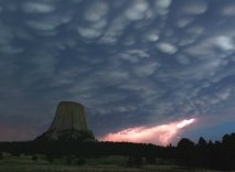 Wow! Lightning strike at the otherworldly Devils Tower National Monument. Photo by Judit Fabian. Tweeted by the US Department of the Interior, 4/13/16.