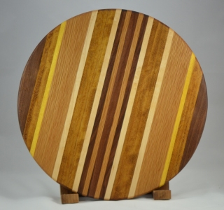 "Lazy Susan 16 - 008. Teak, Black Walnut, Yellowheart, Red Oak & Hard Maple. 17"" diameter x 3/4""."