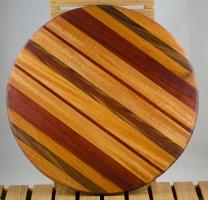 """Lazy Susan 16 - 010. Mahogany, Black Walnut & Bloodwood. 18"""" diameter x 3/4""""."""