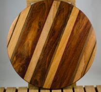 "Lazy Susan # 16 - 010. Mahogany, Jatoba & Black Walnut. 17"" diameter x 3/4""."